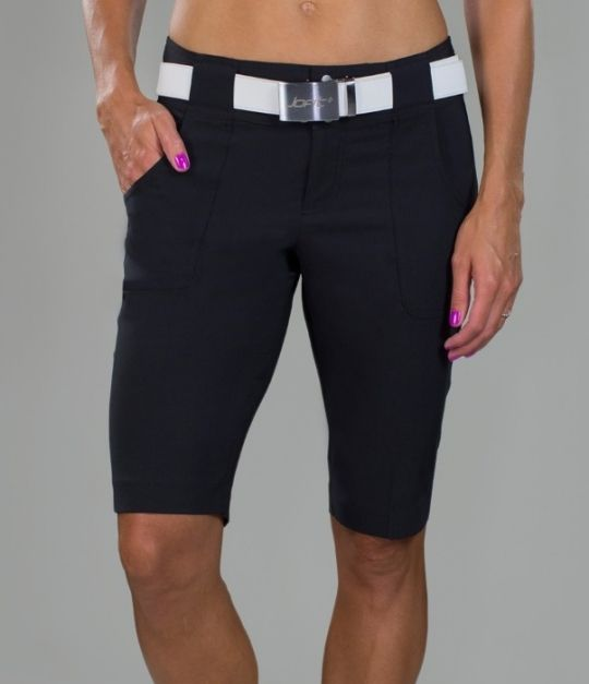 Barossa (Black) JoFit Ladies Inseam Belted Bermuda Golf Shorts! Find more awesome golf apparel at #lorisgolfshoppe