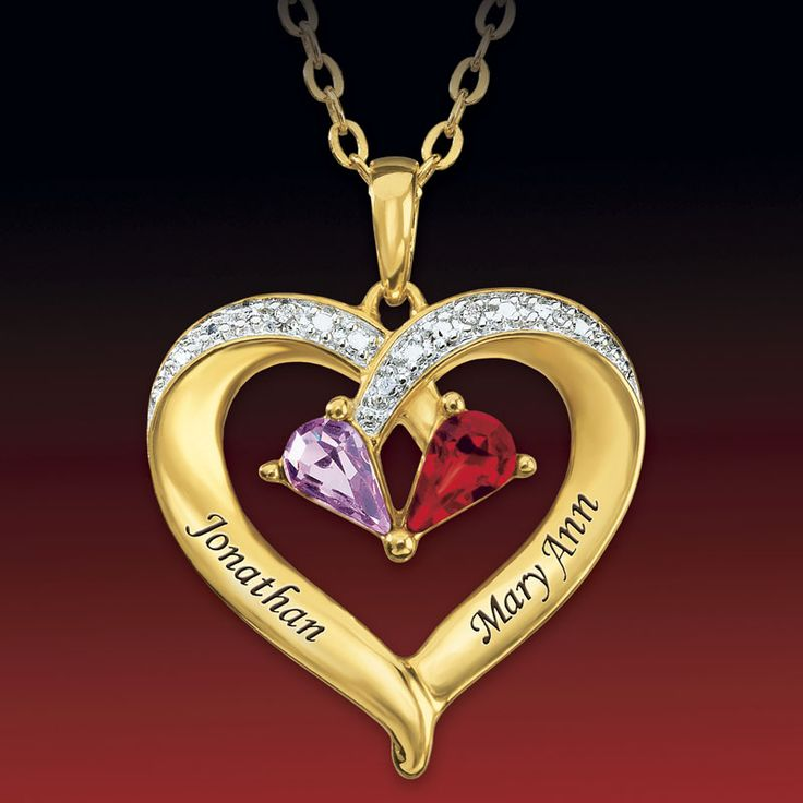 Forever Together Birthstone & Diamond Heart Pendant - The Danbury Mint: Gold Plated Heart, Forever, Birthstones Necklace, Danbury Mint, Heart Pendants, Heart Birthstones