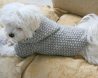 Dog Hoodie Sweater | Grey | Pet Clothing | Hand Knit Dog Clothes | Button Dog Sweater by BubaDog