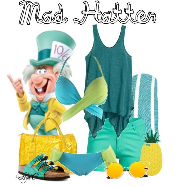 Mad Hatter - Beach / Summer - Disney's Alice in Wonderland by rubytyra on Polyvore featuring prAna, 1826 JEANS, Birkenstock, Miss Selfridge and Linum Home Textiles