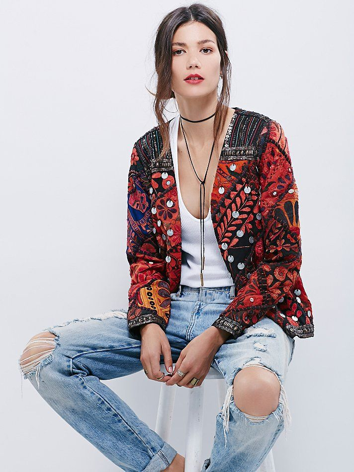 Folk Rock Jacket | A boldly bohemian statement piece, embroidered tapestry jacket is embellished with sequins, coins, and beadwork. Fully lined.