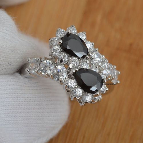 U-Pick-White-Black-Topaz-925-Sterling-Silver-Engagement-Ring-Size-7-8-9-J001