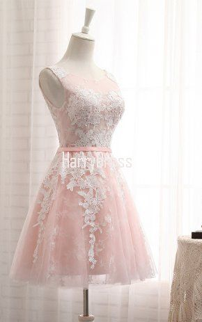 aed2383470f48 Pink Short A Line Scoop Neck Lace Up Appliques Lace Homecoming Dress ...