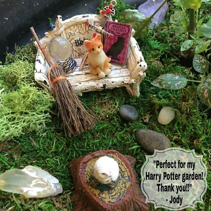 Harry Potter Mini Garden by customer Judy, using Enchanted Acorn's owl, book, wand and crystal ball set. TheEnchantedAcorn.etsy.com