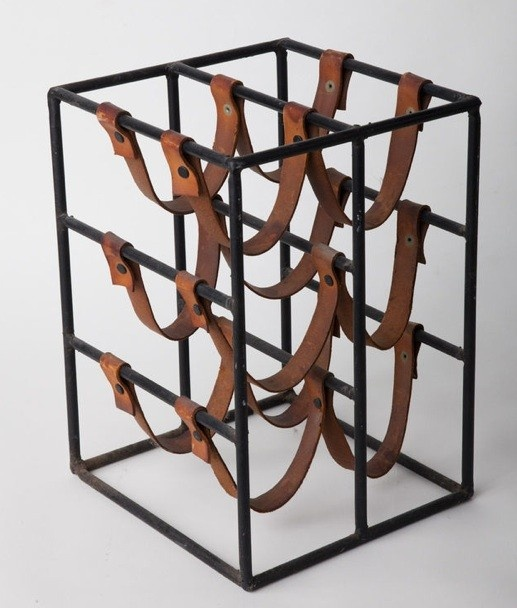 Paul McCobb Iron & Leather Wine Rack