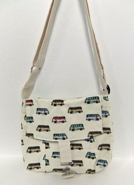 Medium Messenger Bag - Van - crossover purse - with fabric similar to VW Van Purse
