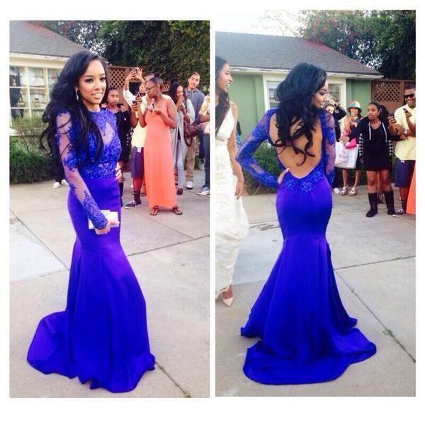 Royal blue Prom Dresses,Long Prom Dresses,Lace Prom Dress,Long sleeves Prom…