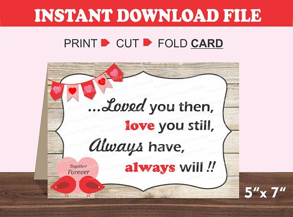 graphic relating to Printable Valentine Cards for Husband identify Printable Anniversary Card/ Intimate Card/ Spouse