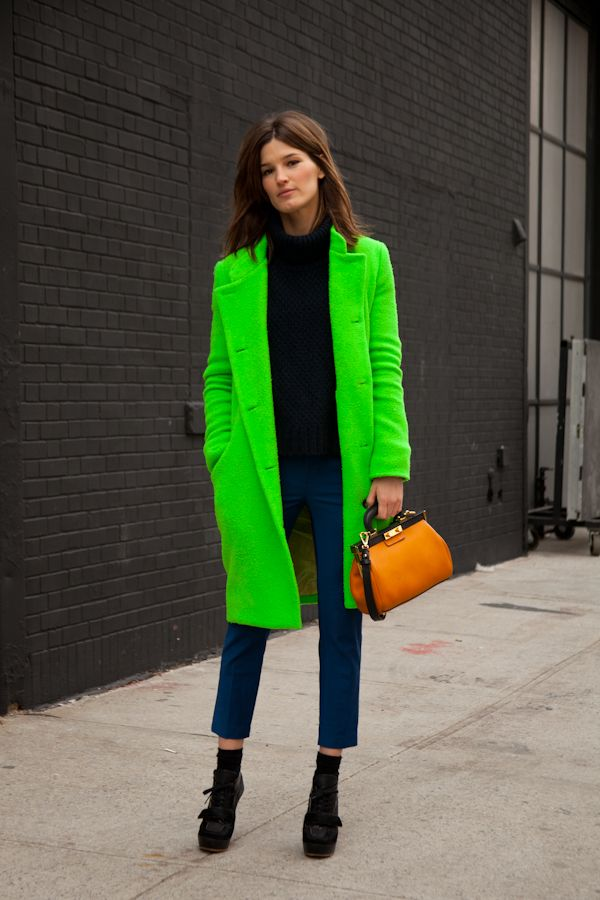 Hanneli throwing some neon green Acne about. why not. it is #NYFW after all. #HanneliMustaparta