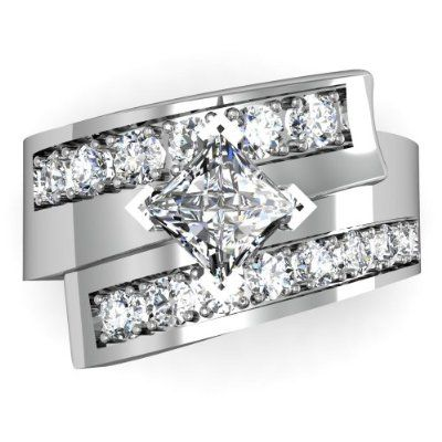 1.15ct Diamond Princess Engagement Ring Unique Thick Double Band 14KW Gold G/SI AGI Certified