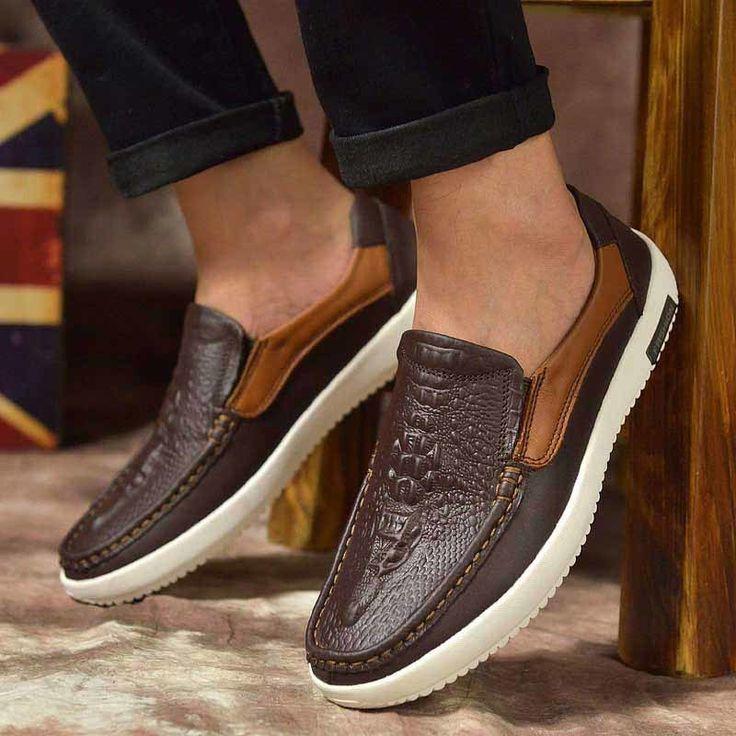 Brown crocodile skin retro leather slip on shoe loafer. Mens Shoes ...