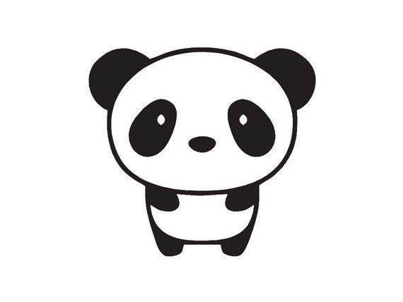 WHITE Cute Panda HI Thought Bubble Vinyl Decal Car Window Sticker Two 2