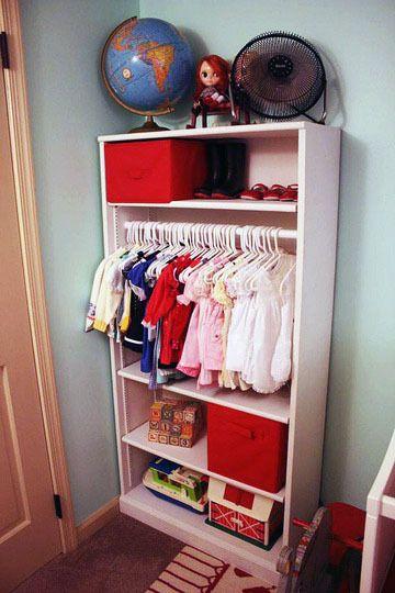 turn bookshelf into closet/storage for baby.