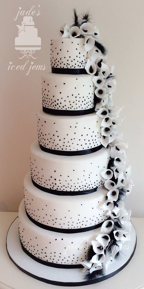 Black And White Wedding Cake Cala Lily Cake