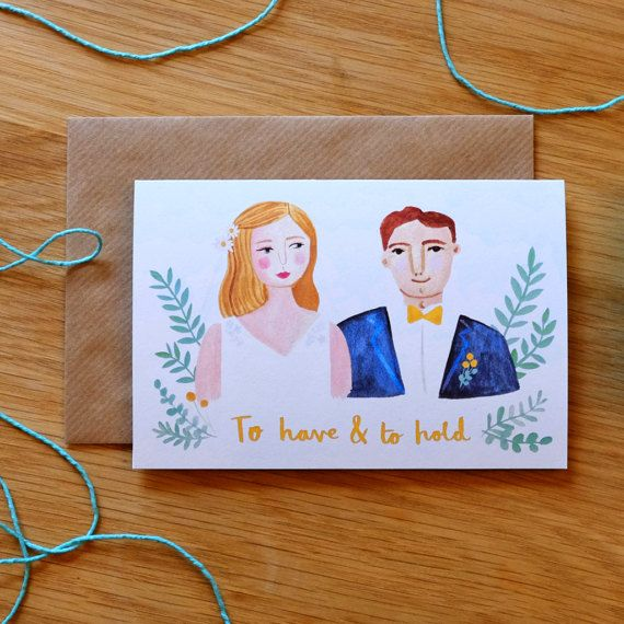 To Have and to Hold Card, by Stephanie Cole Design, 2017  #stationery #wedding #illustrator #card #couple #bride #groom