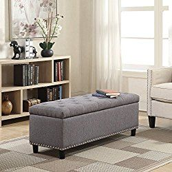 Belleze 48″ Rectangular Gray Storage Fabric Ottoman Bench Tufted Footrest Lift Top