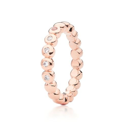Cubic Zirconia Studded Bubble Stackable Ring Rose Gold Plated