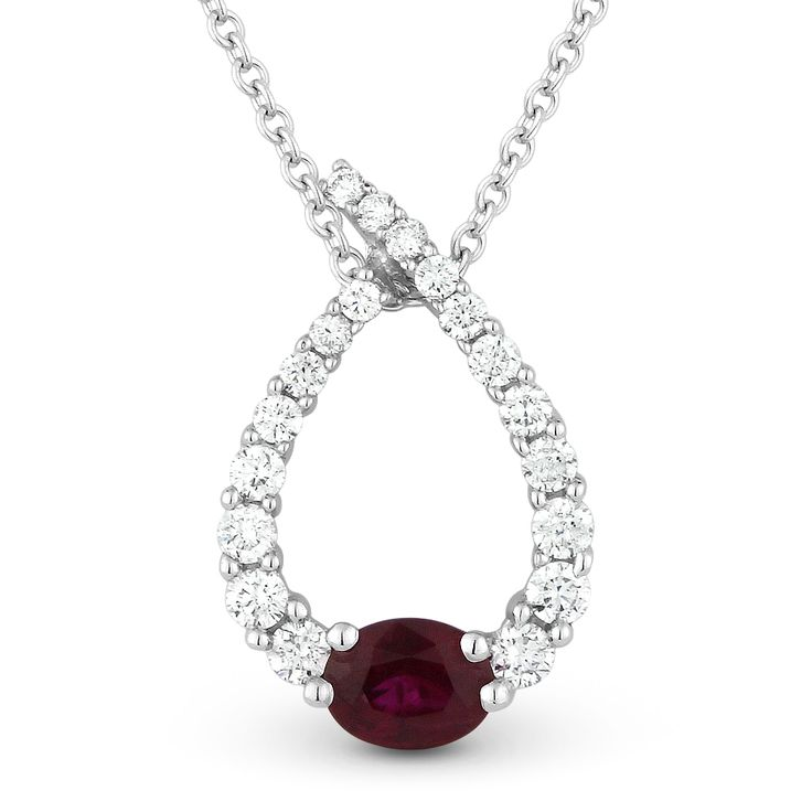 0.55ct Ruby & Diamond Water Drop Charm Journey Pendant & Chain Necklace in 14k White Gold - AlfredAndVincent.com