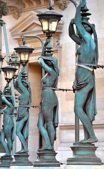 """""""La Ceinture de Lumière , partial"""" , by  Louis-Félix Chabaud ,  1865-69 , bronze lampposts shaped as  caryatides""""  , around Opéra Garnier , Paris"""