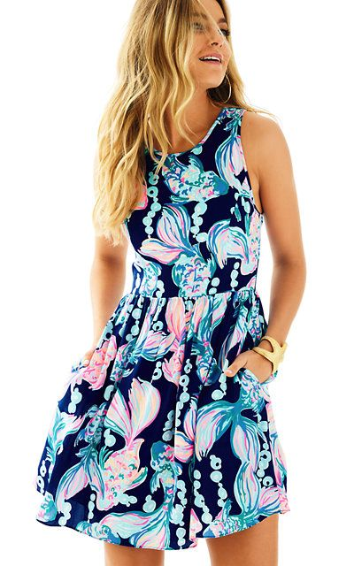 Kassia Fit and Flare Dress -True Blue Going Coastal- Lilly Pulitzer. The colors are gorgeous! There are pockets and it's a flattering cut!