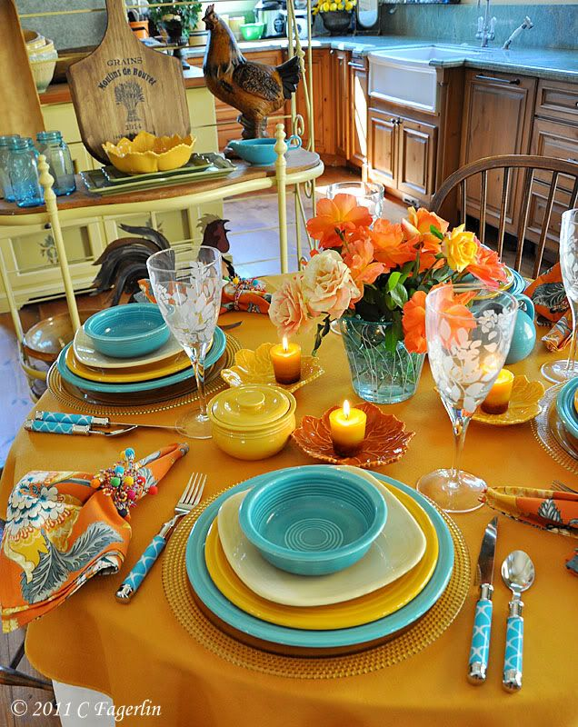 Time For Another Tablescape Here On The Little Round Table. Todayu0026 Table  Features A Contemporary Cloth And Napkins From Home Goods, .