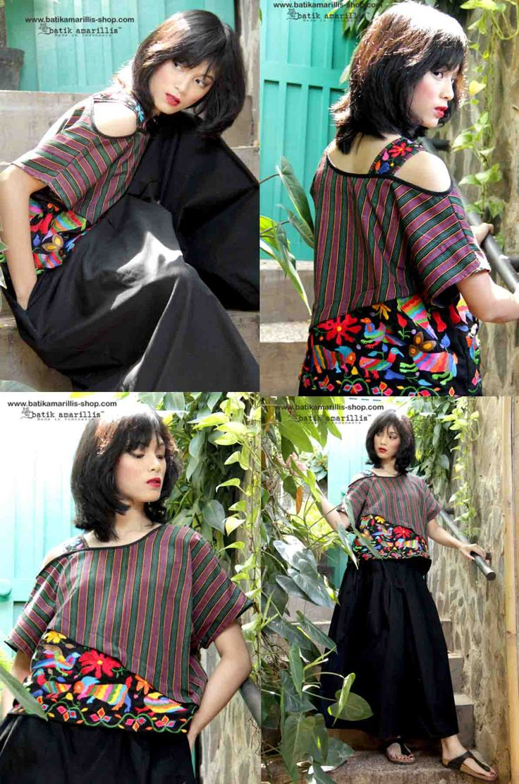 Batik Amarillis's Breezy 2 This one shoulder cut out Top is super comfy with cut loose style. Material : lurik surjan & mexican folk embroidery