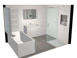 3D tekening badkamer zijaanzicht