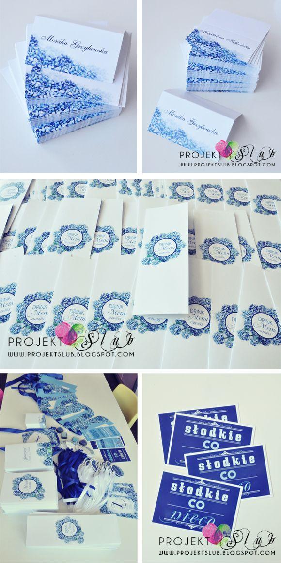 Projekt Ślub: oryginalne zaproszenia ślubne i dodatki weselne, niepowtarzalne projekty indywidualne : Kolekcja dodatków 'Niebieska Hortensja' - wyjątkowa papeteria ślubna z motywem kwiatowym - zdjęcia dekoracji sali weselnej
