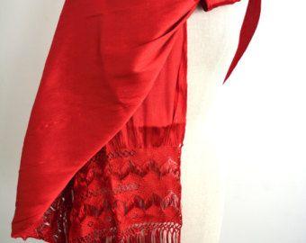 Mexican Rebozo Santa Maria Dos Mallas Red Rojo Silk Texture Shawl Wrap Runner Ikat