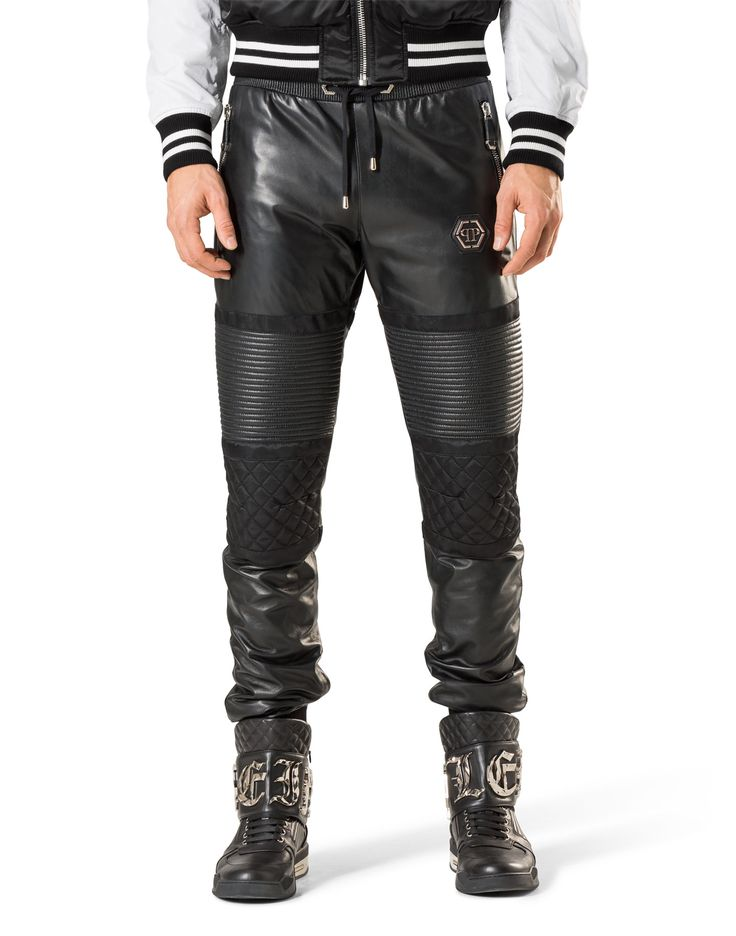 "Philipp Plein Leather Trousers Long ""Stop"" 1998 EUR. Exclusive garment crafted from lustful leather and detailed with bold leg inserts. Finished with ribbed edges for maximum comfort.  Composition SHELL: 100% SHEEP LEATHER + LINING: 100% VISCOSE"