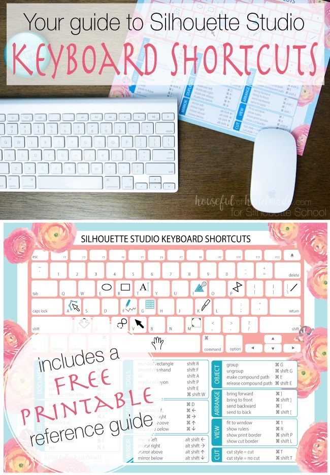 Free Silhouette Studio printable with a list of keyboard shortcuts