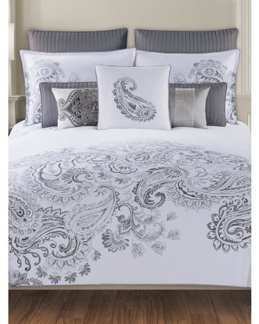 grey and white paisley bedding