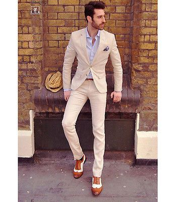 Ivory Groom Tuxedos Business Best Man Slim Suit Formal Wedding Party Evening Su