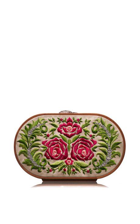Summer Roses Embroidered Oval Bag by Katrin Langer for Preorder on Moda Operandi