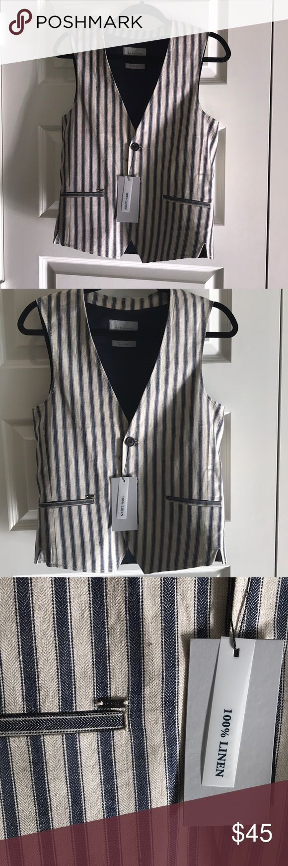 NWT Zara Man Vest NWT Zara Man Navy and cream linen pin stripe vest with three navy buttons and two pockets. Size Small Zara Suits & Blazers Vests