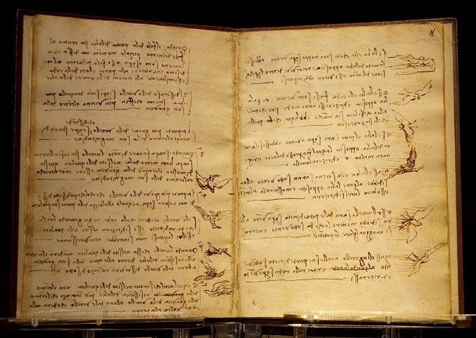 Leonardo Da Vinci, Codice sul volo degli uccelli, 1505 circa, Biblioteca Reale di Torino.