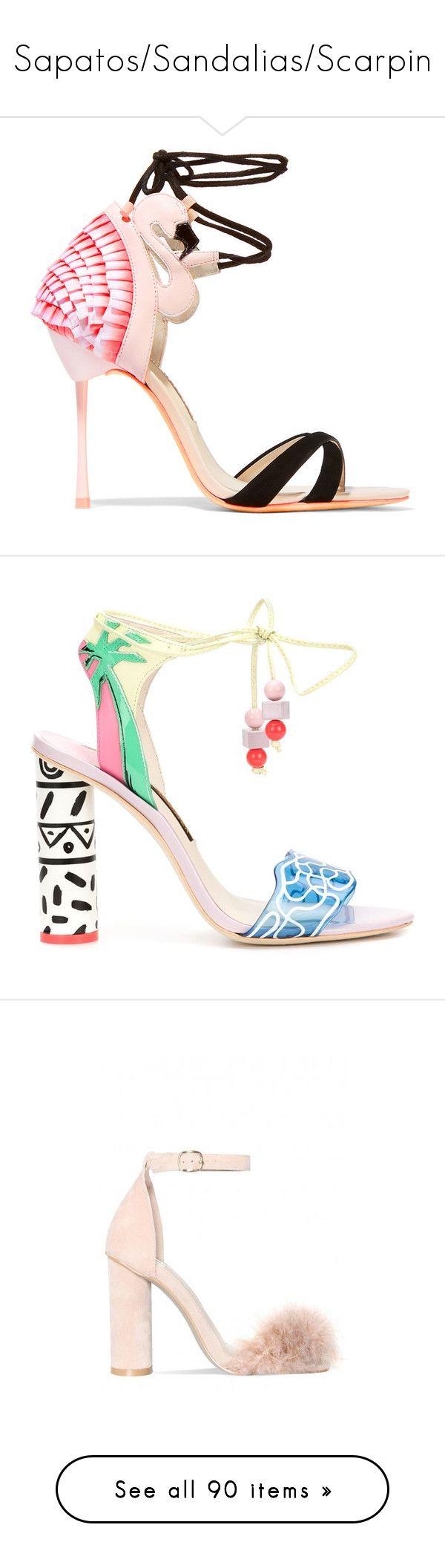 """Sapatos/Sandalias/Scarpin"" by gabriel-sampaiooo on Polyvore featuring shoes, sandals, heels, high heels, sophia webster, pink, strap sandals, pink strappy sandals, strappy high heel sandals e ankle strap heel sandals"