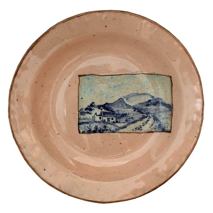 An original ceramic work by Lisa Ringwood entitled: 'Karoo Plate III', ceramic, d 24cm For more please visit www.finearts.co.za #ceramic #LisaRingwood #Ceramicist #SouthAfricanArt #SouthAfricanArtist #ChineseCeramics #InteriorDesign #Decor #Decoration #Landscape #Fauna #Flora #Birdlife #VOCware #Karoo