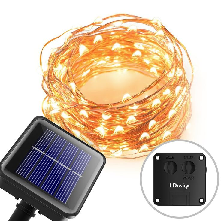 Solar String Lights, LDesign 8 Modes 33ft Solar Powered LED String Lights, Copper Wire Lights for Outdoor, Gardens, Homes, Dancing and Christmas Party - Warm White => Huge discounts available now! : Seasonal Lighting for Christmas