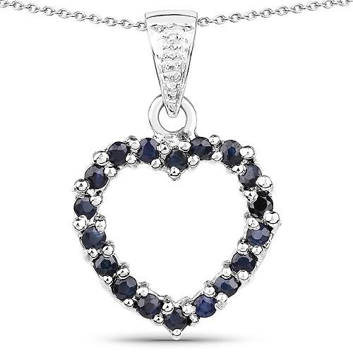 1TCW Natural Blue Sapphire & White Diamond Heart Pendant Necklace
