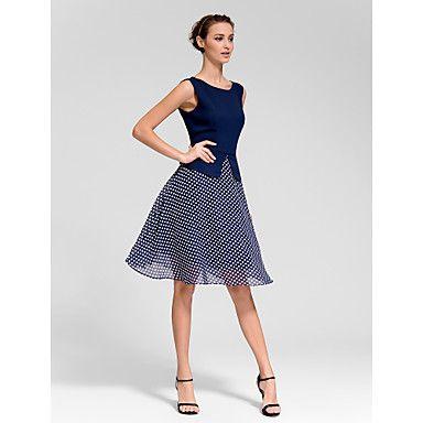 A-line Bateau Knee-length Polyester Semi-Formal Dress – USD $ 19.99