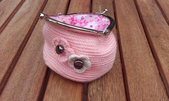 Peach Blossom Crochet Coin Purse by BessFlowerPots on Etsy