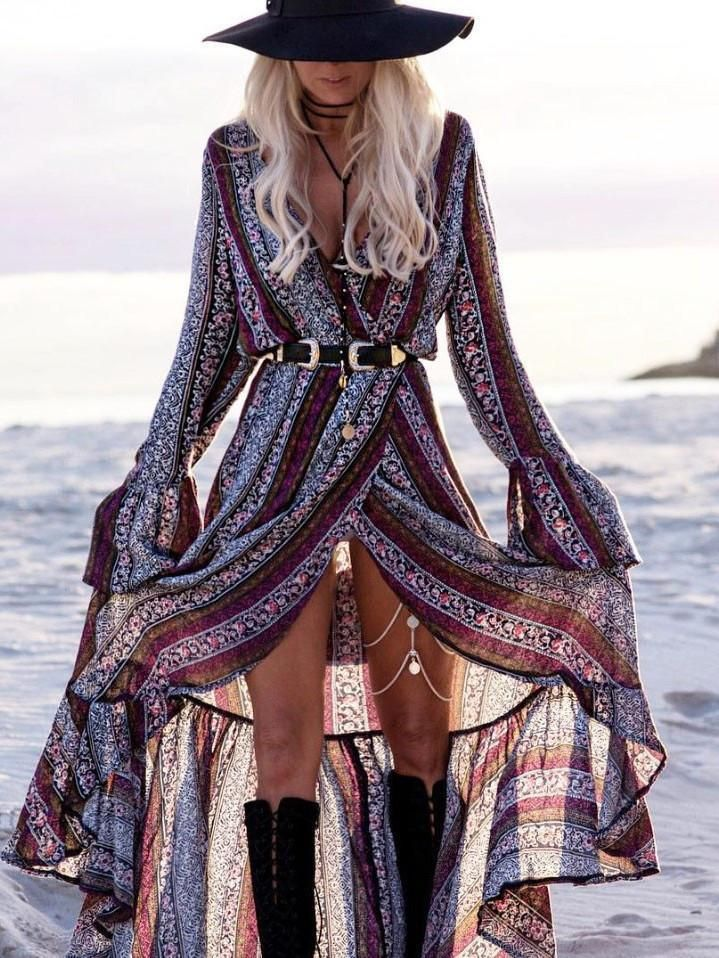 Pretty Chiffon Bohemia Floral Front Split with Tie Long Sleeve Maxi Dress