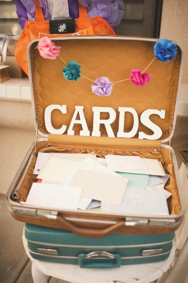 All your wedding guests can leave the happy thoughts & wishes in an old fashioned suit case!  Love it!