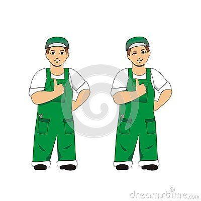 Vector illustration of #smiling and winking #mechanic #man #mascot