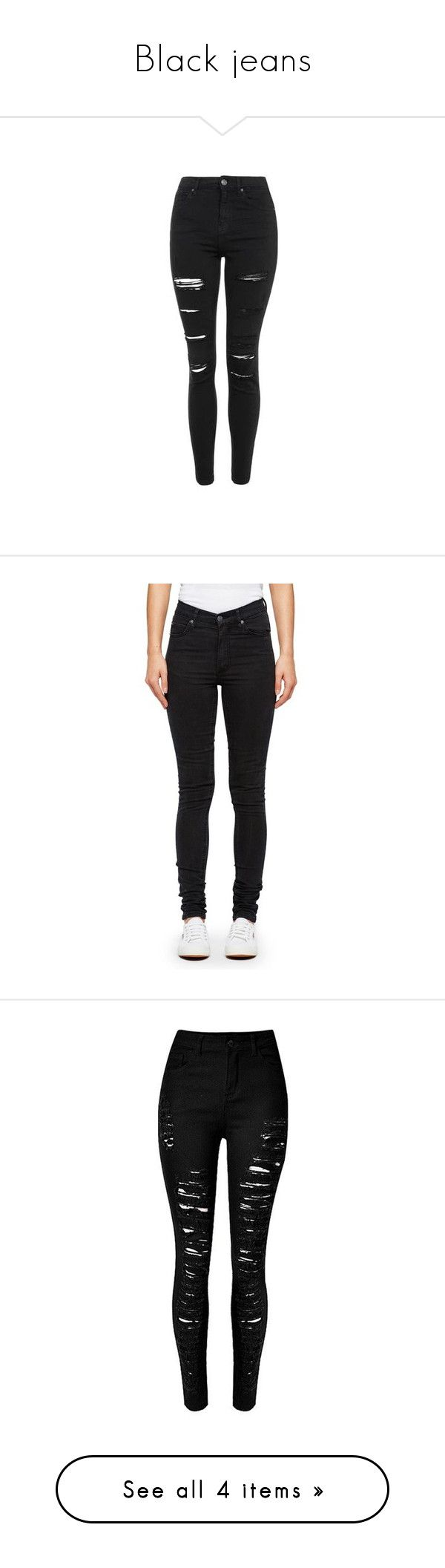 """""""Black jeans"""" by uunicornns ❤ liked on Polyvore featuring jeans, pants, bottoms, calças, skinny jeans, black, high waisted distressed skinny jeans, petite skinny jeans, high waisted ripped skinny jeans and ripped jeans"""