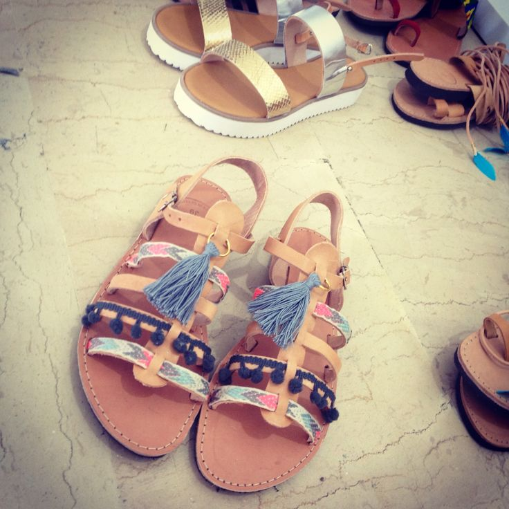 Handmade leather sandals. Boho style! Feel the love by Rena Xenou