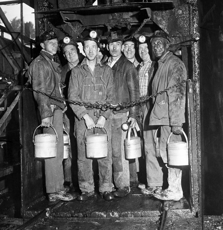 This pic of a few coal miners is economical because mining was one of the few ways to earn money during the Great Depression, and it rose in popularity in this time