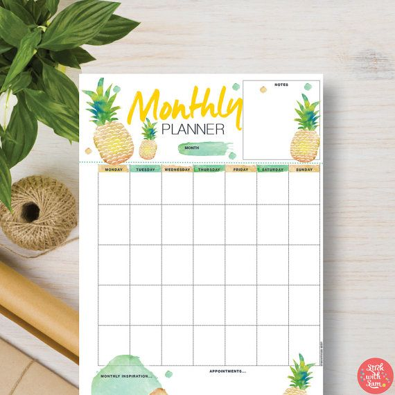 MONTHLY Printable Planner Monthly Pineapple Insert ...