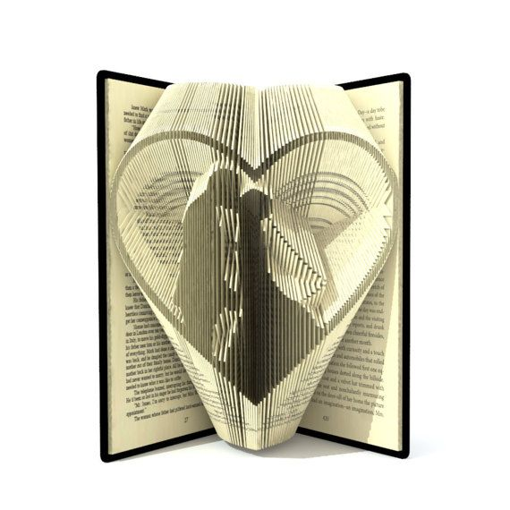 Book folding pattern - WEDDING COUPLE in HEART - 256 folds + Tutorial with Simple pattern - Heart -EH0401